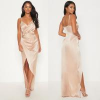 China 2019 New Arrivals Women Casual Petite Champagne Satin Maxi Dress And Sexy on sale