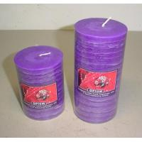 China 3x43x6purple scented paraffin pillar candle wrapped by clear PVC sheet and printed label on sale