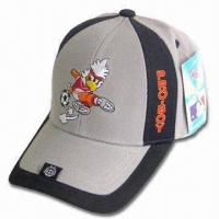 Cheap Sports Cap with Back Velcro Closure, Logo Embroidery on Front and Peak for sale