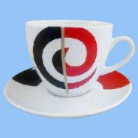 Cheap Porcelain Cappuccino Coffee Mug with Saucer and 8oz Capacity, Made of Ceramic for sale