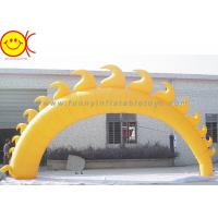 Cheap 5m Yellow Sun Shape Oxford Fabric Inflatable Giant Arch With Blower For Event for sale