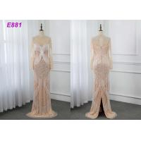 Cheap Heavy beading evening dress tassels long sleeves sheath formal party dress for sale
