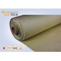 China Heat Retardant 800C Wire Inserted Coated Fiberglass Fabric Treated With Vermiculite 1.4mm on sale
