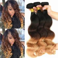 Cheap Brazilian Ombre Human Hair Body Wave, No Shedding Color1b/4/27# Coloured Hair Extensions for sale