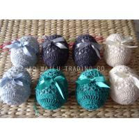 Cheap Acrylic Crochet Christmas Ornaments Decoration , 6cm Hand Crochet Easter Eggs for sale