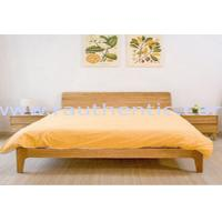 China Small Modern Real Wood Platform Bed , Chunky Wooden Frame Single Bed With Slatted Bed Base on sale