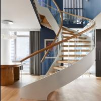 Cheap Modern Wooden Steel Curved Staircase Design for sale