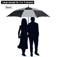 China 62 inch oversized Travel Square Golf Double Layer Air Vent Umbrella Windproof Large Straight Handle for men and women on sale