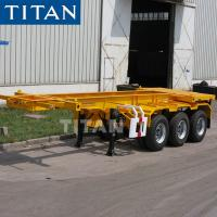 Cheap TITAN tri axle 40-60T container transport skeletal trailer for sale for sale