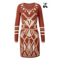 Cheap Jacquard Pattern Ladies Sweater Dresses Scoop Neck Long Sleeve OEM Service for sale