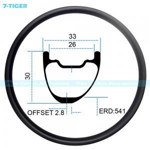 Cheap 7-tiger carbon mountain bicycle wheel rim 27.5 er asymmetric offset XC bike 30 x 33 mm Tubeless Compatible for sale