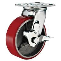 Cheap Lockable Industrial Trolley PU Caster Wheel With Plate Fitting 4 Inches for sale