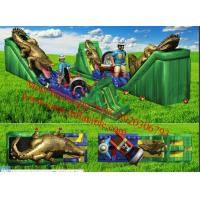 Cheap Inflatable Awesome Jungle Themed Obstacle Course With Walls, Tunnels and Slides for sale