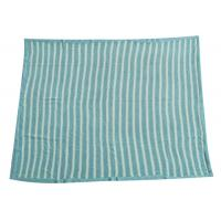 Cheap Soft Crochet Baby Knitted Blanket Blue Stripe 100% Polyester Material  for sale