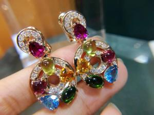 Cheap Astrale earrings 18k yellow gold set with blue topaz, green tourmaline, peridot, citrine and red garnet set with diamond for sale
