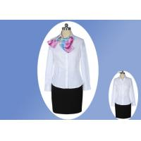 China Casual V Neck Office Work Uniforms , White Lapel Collar Womens Work Uniforms on sale