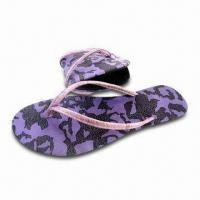 China Folded Women's Flip Flop with PU Upper, TPR Outsole and Softer EVA Insole on sale