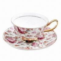 Cheap Fine Bone China Gold Tea Cup and Saucer Set, Various Designs are Available for sale
