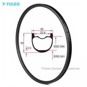 Cheap 7-tiger NEW 30 x 30 mm Width Carbon Fiber 27.5er Mountain Bike Clincher Rim Tubeless Compatible ud matte for sale