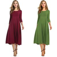 Cheap Cotton Blend Round Collar Medium Sleeve Solid Color Dress Ladies Clothes for sale