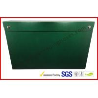 China Leather Paper Material Magnet Folder Box , Green Color Office Storage Box on sale