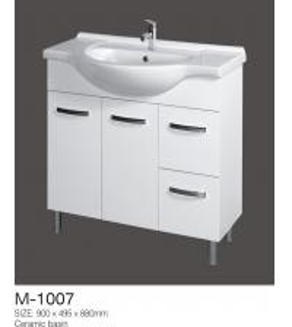 China Design Your Own White Single Bath Vanity Porcelain Vanity Top Floor Standing on sale
