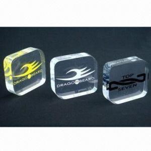 Cheap Acrylic Logo Block, Silkscreen/Engraved Logos, Customized Designs are Accepted for sale