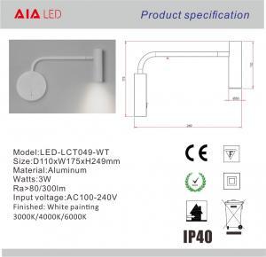 Quality Surface mounted adjusting angle gold led reading light/led book reading lamp/led wholesale