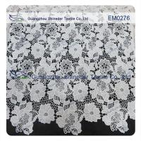 Buy cheap Mesh polyester lace Fabric White Flower  Embroidered Lace material for girls dress from wholesalers