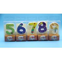 Cheap Lovely 0-9 Number Birthday Candles Set With Glitter Decoration Smokeless for sale