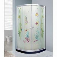 Cheap Shower enclosure with 6mm transverse line clear tempered glass door for sale