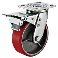 Cheap Small Red Caster Wheels / Heavy Duty Locking Swivel Casters With Plate Fitting for sale