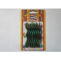 Cheap Matallic Green Glossy Decorative Christmas Candles Wave Shaped 8.2CM Height for sale