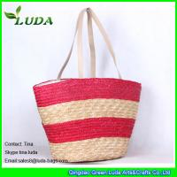 Cheap Hand Plaited Striped Wheat Straw Bags for sale