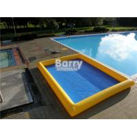 Cheap Custom Made 0.9mm PVC Inflatable Swimming Pool Air Sealed Blue Rectangle for sale