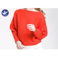 Cheap Boat Neck  Womens Knit Pullover Sweater Lady Sexy Drop Shoulder Ottoman Knitted Jumper for sale