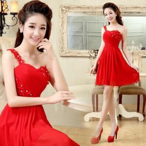 China Fashion Short Bridal and Bridesmaid Dress 2014 Flower One Shoulder Champagne Red Dresses Vestido Para Madrinhas 101103 on sale