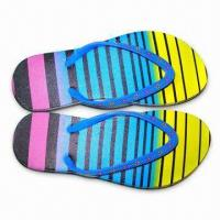 China Women's Flip Flops with Printed Insole and PE Outsole on sale