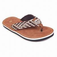 China Ladies' Fashionable Plastic Woven Flip Flops with Brown Pigskin Suede Insole on sale