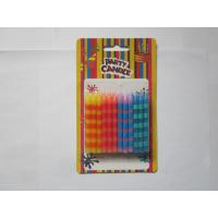 Cheap Straight Color Stripe Print Birthday Candles 2.48 Inch Height 10 min Burn Time for sale