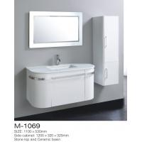 Cheap Irregular Vintage Bathroom Vanity Sink Stone Top Ceramic Basin Square LED Mirror for sale