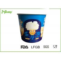 Cheap Blue Color 85oz Disposable paper popcorn cups For Cinema Watching Movie for sale