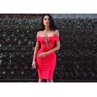 Cheap Summer Red Lady Sexy Hollow Out A - Line Midi Party Bandage Dress wholesale