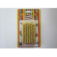 Cheap Somkeless Gold Birthday Candles Spiral Shaped About 5 Min Burning Time for sale