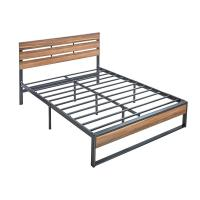 China Full Size Hotel Wooden Slat Bed Frame Customizable Size 6 Legs Stability on sale