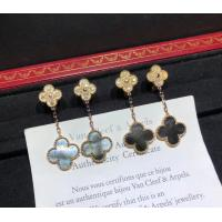 Cheap 2 Motifs 18K Rose Gold Magic Alhambra Earrings With Grey Mother Of Pearl for sale