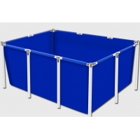Cheap Movable 4000L PVC Tarpaulin Fish Farming Water Tank With Metal Frame for sale