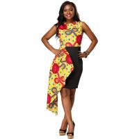 Cheap Fashion Contracted Irregular African Print Dresses Lady Batiks Sleeveless Dress for sale
