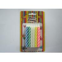 Cheap Fancy Striped Birthday Candles / Spiral Multi Colored Candles For Festival Party for sale
