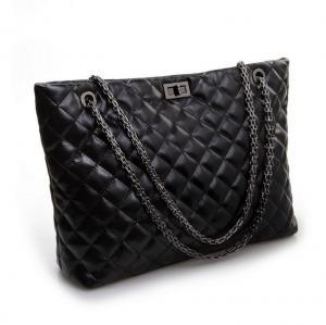Cheap Diamond Shaped High Fashion Handbags , Black Cowhide Single Shoulder Bag for sale
